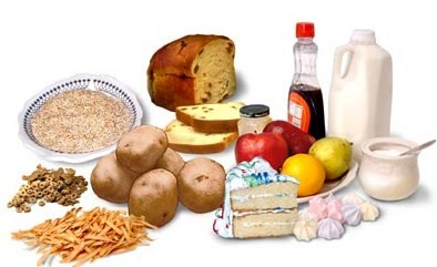 Foods with a high carbohydrate content
